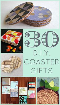 "30 D. Coaster Gifts - the thinking closet : Balance has been my word of the year this year. And in the words of Tevye from Fiddler on the Roof, ""How do we keep our balance? That I can tell you in one word: tradition!"" The last two November. Coaster Crafts, Diy Coasters, Homemade Coasters, Craft Gifts, Diy Gifts, Crafty Craft, Crafting, Crafts To Do, Cork Crafts"
