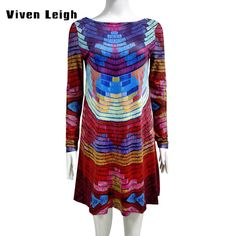High Quality Autumn Print Multicolor T Shirt Dress Women Backless Sexy Casual Dresses Loose Long Sleeve T shirt Dress