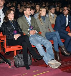 (L-R) Princess Caroline of Monaco, Pier Casiraghi and Beatrice Borromeo attend Intimissimi On Ice 2015 on October 9, 2015 in Verona, Italy.