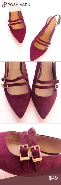• NEW Calvin Klein Pointed Toe Slingback Flats • • NEW Burgundy Flats Size 6.5 by Calvin Klein •  Show off your shoe game with these gorgeous burgundy flats by Calvin Klein!  With their rich coloring and gorgeous style, this pair will be turning heads wherever you go.  + Size 6.5 + Never Worn. Looks like some very slight wear on the bottom leather as shown, but they were never worn outside of the store.  Same or next day shipping on all business! 💌  Questions? Ask Away! ✨  Happy Poshing! 🌹…