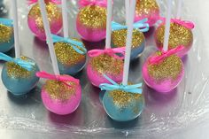 Pink & Blue Glitter Cake pops by Sweet Lauren Cakes,
