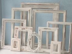 wedding PICTURE FRAMES - shabby chic distressed custom frame set for weddings, nurseries, and home decor