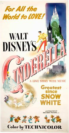 """Cinderella"" directed by Clyde Geronimi, Hamilton Luske, Wilfred Jackson / highest grossing film in 1950."
