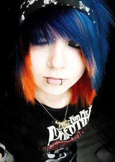 Punk haircut blue and orange Neo Grunge, Grunge Style, Soft Grunge, Tokyo Street Fashion, Cute Hair Colors, Cool Hair Color, Le Happy, Green Hair, Blue Hair