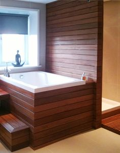 The Nirvana Japanese style soaking tub in a wooden surround soaking tu. - Tracy - The Nirvana Japanese style soaking tub in a wooden surround soaking tu. The Nirvana Japanese style soaking tub in a wooden surround soaking tubs with steps - Japanese Soaking Tub Small, Japanese Bathtub, Deep Soaking Tub, Soaking Bathtubs, Tub Shower Combo, Bathtub Shower, Bathtub Ideas, Bath Tubs, Bathroom Ideas