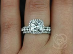 Rosados Box Catalina 7.5mm and Petite Naomi Platinum FB Moissanite and Diamonds Halo TRIO Wedding Set