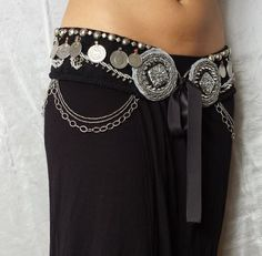 Tribal Fusion Bellydance Belt Black and Metal by DyinArtform