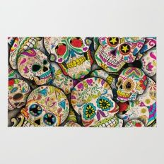Rug featuring Sugar Skull Collage by Spooky Dooky