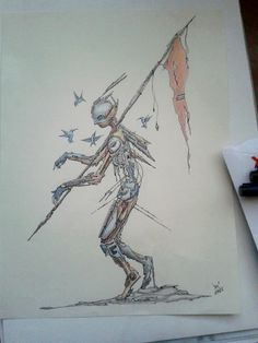 Tin soldier #ink and #graphite #pencil #original #drawing #art by #josecastaneda #precolombian #conquistador #tin #soldier #surreal #cyberpunk #lineart