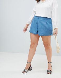 Short jupe culotte Asos - inspiration patron couture short Mouffetard A&A Asos, Short En Jean, Jeans, Jean Shorts, Casual Shorts, Denim, Inspiration, Shopping, Style