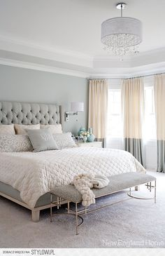 bedroom curtain colors. gray  white and tan bedroom Great two tone curtains upholstered headboard Love the softness of neutral colors 5 Killer Color Palettes To Try if You Blue Apartment