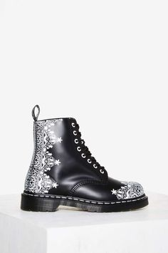 Dr. Martens 8-Eye Leather Boot - Pascal Lace - Shoes | Boots + Booties | Grunge