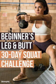 Beginner's Leg Squat Challenge For Beginners, Squat Challenge Results, 30 Day Squat Challenge, Workout For Beginners, Beginner Workouts, Workout Challenge, Squat Workout, Squat Exercise, Butt Workouts
