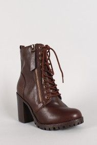 Zipper Lace Up Chunky Heel Ankle Bootie