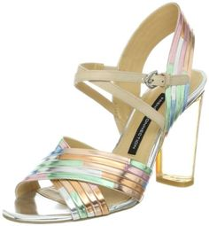 French Connection Womens Peggie Sandal,Nude Multi,37.5 EU/7.5 M US.  check discount today! click picture on top