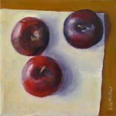 """Daily Paintworks - """"Plums"""" by Laurie G. Plum Fruit, Still Life, Fine Art, Painting, Kunst, Painting Art, Paintings, Visual Arts, Painted Canvas"""