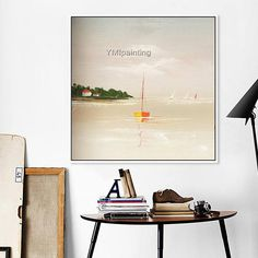 Original Hand painted boat Canvas Yacht Oil painting Wall #OilPaintingBoat