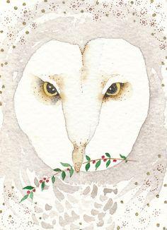 Owl Christmas #Owl #Christmas #illustration #art #snow