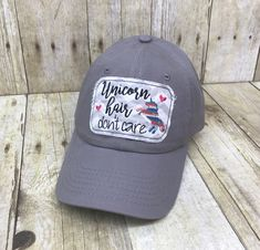 78be87df6c1 Youth Size Unicorn Hair Don t Care Embroidered Grey and White Chevron Raggy  Patch Solid Grey Baseball Cap Hat