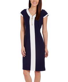 Look at this #zulilyfind! Navy & White Cap-Sleeve V-Neck Sheath Dress #zulilyfinds