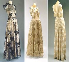 Evening dresses, 1938-39.    Unlike other designers of the times, her dresses defied copying. To obtain the patterns her designs would have to be unassembled and laid flat in order to be understood. Some of her dresses, shapeless on the hanger, only made sense when viewed on the body and some even required instructions to wear!