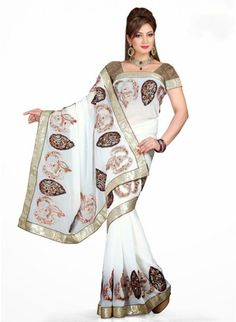 Exotic Off White Chiffon Based Embroidered #Saree