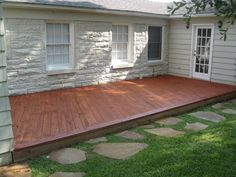 low deck with rock accents Back Patio, Backyard Patio, Backyard Landscaping, Backyard Ideas, Pergola Ideas, Patio Ideas, Pergola Patio, Pergola Kits, Decking Ideas