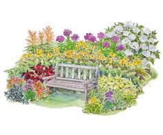 Colorful Garden Plan for Partial Shade