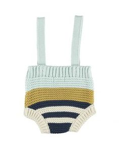 Knitted baby shorties with adjustable straps . Blue & mustard stripes CO Knit Or Crochet, Crochet Bikini, Baby Knitting, Knitted Baby, Newborn Pictures, Doll Patterns, Luxury Branding, Kids Outfits, Baby Boy