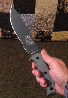 My ESEE-6 Rowen knife. One of many that I carry. ESEE makes wilderness survival and tactical knives with superb cutting efficiency and multiple carry options. ESEE-6 SPECS: Overall Length: 11.75″ Cutting Edge Length: 5.75″ Overall Blade Length: 6.50″ Thickness: .188″ Steel: 1095 Carbon, 55-57 Rc Finish: Textured Powder Coat Blade Width: 1.56″ Drop Point Blade, Full Flat Grind Weight: 12 Ounces Handles: Linen Micarta