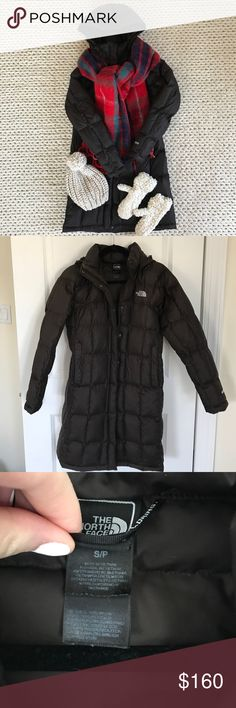 "The North Face Metropolis down coat The North Face Metropolis Down Parka in brown. Size small. Used but in good condition. 600 down fill. Approx 36"" from shoulder to hem. The North Face Jackets & Coats Puffers"