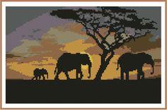 Safari African Elephants Cross Stitch Chart 012 interior hobbies and interests | eBay