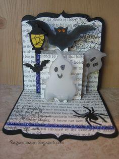 Raquel's Stampin' Blog: Halloween 3-D Multi Tier Pop N Cut using Square Pop 'n Cuts base and Flagpole/Lantern Sizzlits Strip.