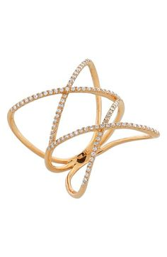 Bony Levy rose gold and diamond crossover ring