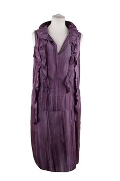MARNI Purple Silky SLEEVELESS DRESS w/ RUFFLE Trim SIZE 42 RR | From a collection of rare vintage evening dresses and gowns at https://www.1stdibs.com/fashion/clothing/evening-dresses/