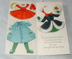 1964 Greeting Card Paper Dolls ~ Christmas Girl ~ American Greeting ~ Unused (06/22/2013)