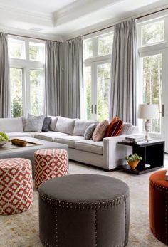 L shape sofa big windows