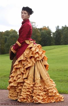 walking dress ca. 1876, by Maria Dmitrieva