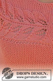 """DROPS túnica trabajó de lado en pt musgo con el patrón de encaje y botones en la parte delantera en """"Safran"""". Tamaño: S - XXXL ~ DROPS Design"""