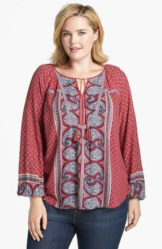 Lucky Brand 'Kat' Mixed Print Top (Plus Size) available at #Nordstrom