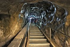 Long shaft and stairway leads down into the bowels of the Salina Turda Salt Mine in Turda, Romania Places To Travel, Places To See, World Map Picture, Salt Of The Earth, Way To Heaven, Future Travel, Places Around The World, Romania, Travel Photos
