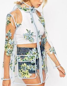 Beautiful clear vinyl raincoat with floral print depicting sunflower ideal for spring rainy weather. Quality womens rain coat made from clear vinyl fabric! Raincoat Outfit, Blue Raincoat, Hooded Raincoat, Clear Raincoat, Vinyl Raincoat, Raincoats For Women, Jackets For Women, Donia, Rain Wear