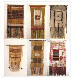 ideas para tapices Weaving Textiles, Weaving Art, Tapestry Weaving, Loom Weaving, Woven Wall Hanging, Hanging Art, Textile Prints, Textile Art, Rug Hooking
