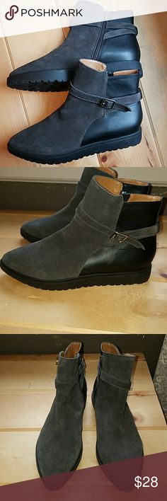 Nine west ankle boots. New without tags. Leather and suede with side zippers. Gray suede black leather. Side silver buckle. Nine West Shoes Ankle Boots & Booties