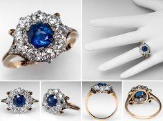 Victorian Sapphire Engagement Ring w/ Diamond Halo Platinum & 14K Gold 1880's - EraGem