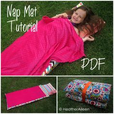 Nap Mat PDF Tutorial - Kindermat cover includes attached pillowcase and blanket with velcro closure