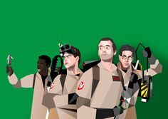 My favorite in the series - the good ol' Ghostbusters.  The real question is are they shooting a green screen scene (take that alliteration!) or are they standing in front of a wall of slime?