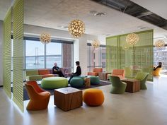Unique, collaborative environment that represents New Relic's branding and supports the company's rapid growth. The space includes mostly open office bench seating with some private offices, small to large meeting rooms, open collaboration areas, private phone rooms, and a barista station.