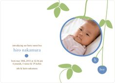 Boy blueberry announcement card. I'm sending this one.