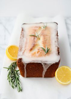 Afternoon snack idea: lemon rosemary yogurt cake.